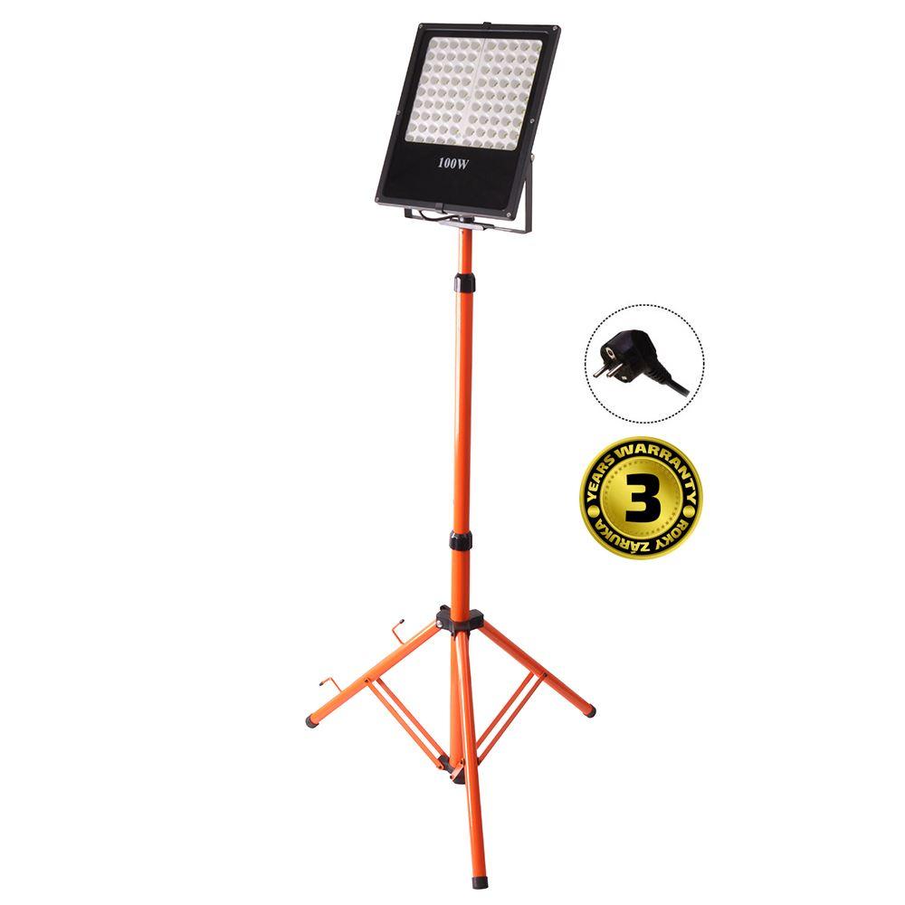 Solight LED venkovní reflektor s vysokým stojanem, 100W, 8500lm, kabel se zástrčkou, AC 230V
