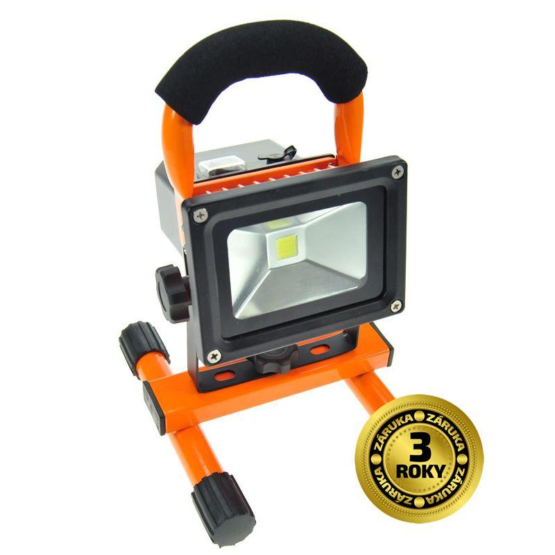 Solight LED reflektor 10W, přenosný, nabíjecí, 700lm, oranžovo-černý