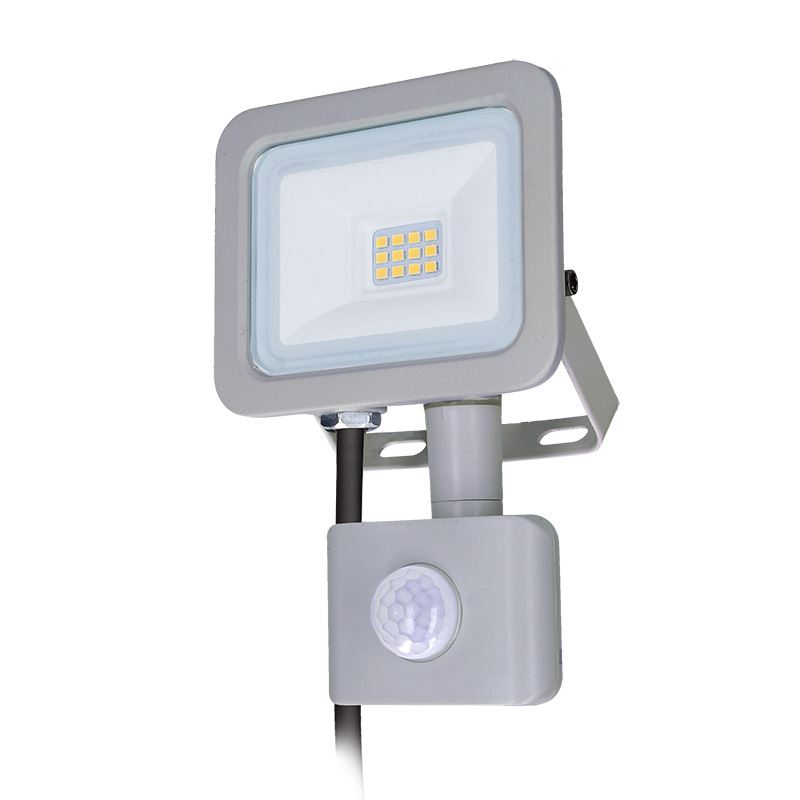 Solight LED reflektor Home se sensorem, 10W, 750lm, 4000K, IP44, šedý