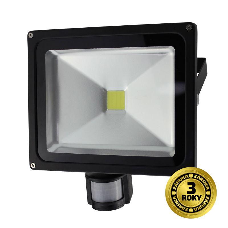 Solight LED venkovní reflektor, 30W, 2400lm, AC 230V, černá, se senzorem
