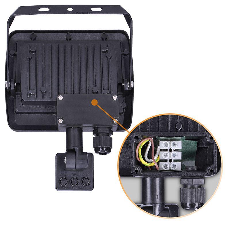 Solight LED reflektor Easy se sensorem, 30W, 2400lm, 4000K, IP44, černý