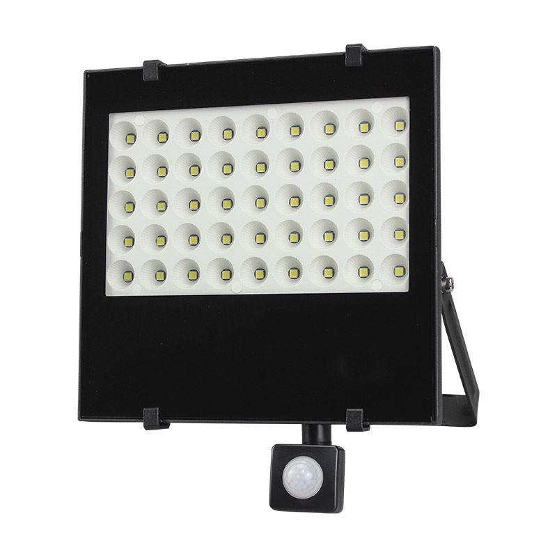 Solight LED venkovní reflektor, 50W, 4250lm, AC 230V, se senzorem, černá