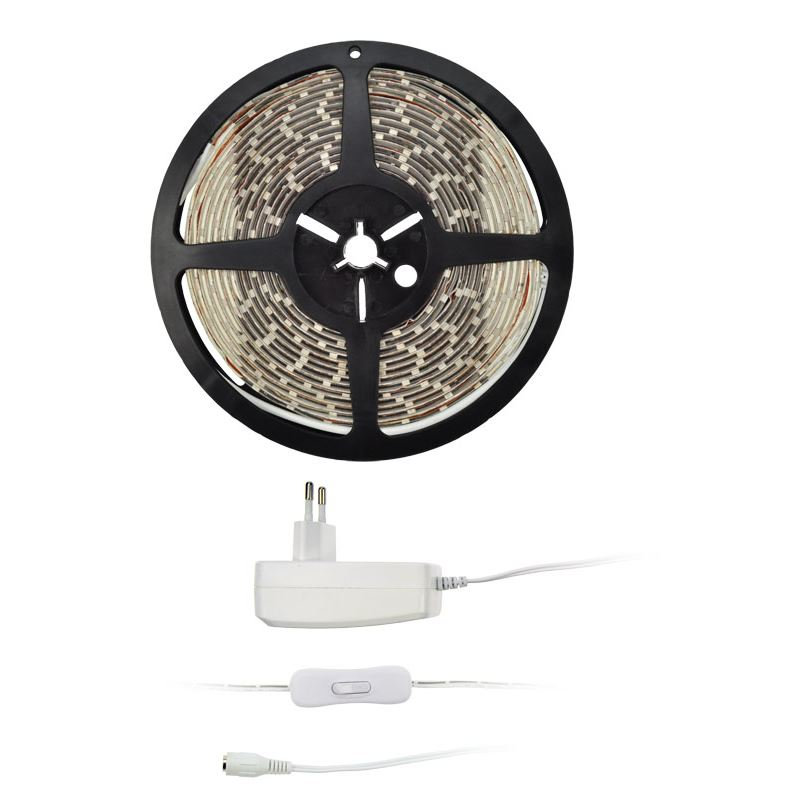Solight LED světelný pás s testrem, 5m,  sada s 12V adaptérem, 4,8W/m, IP20, studená bílá