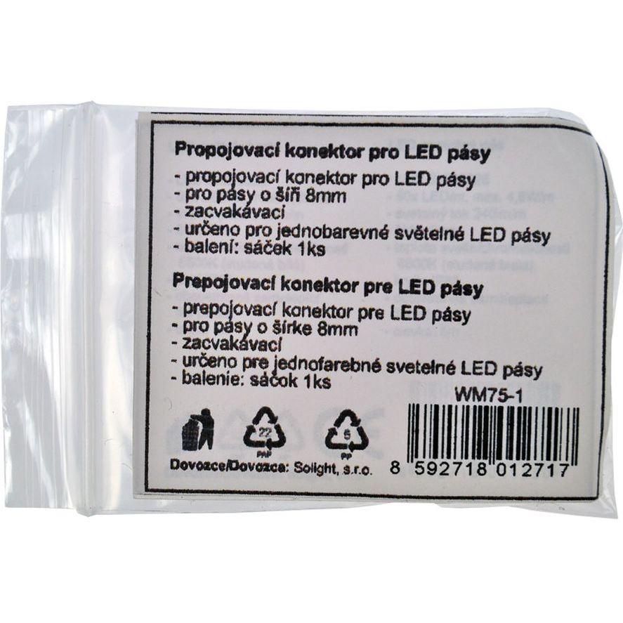 Solight propojovací konektor pro LED pásy, 8mm, zacvakávací, balení 1ks, sáček