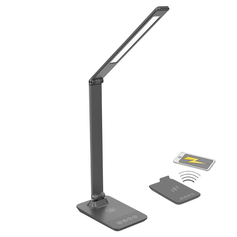 Solight LED stmívatelná lampička s bezdrátovým nabíjením 10+10W, změna chromatičnosti, šedá