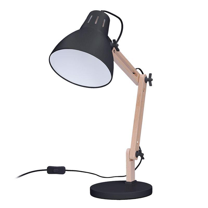 Solight stolní lampa Falun, E27, černá