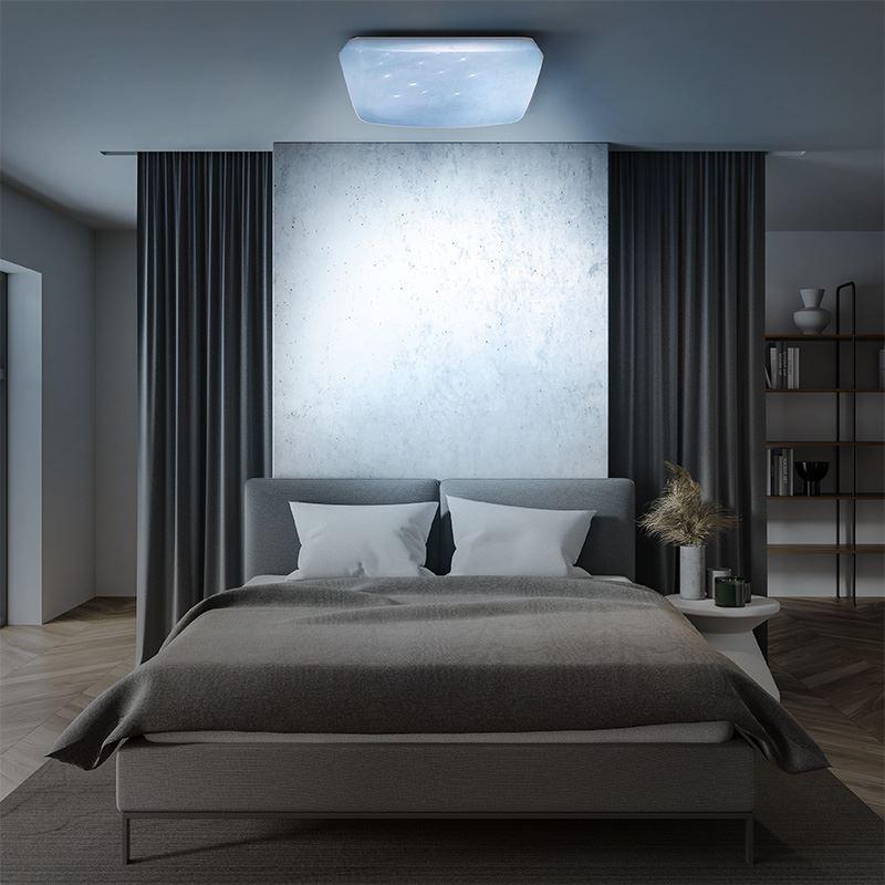 Solight LED stropní světlo Star, čtvercové, 24W,1440lm, dálkové ovládání, 37cm