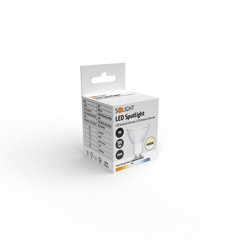 Solight LED žárovka, bodová , 7W, GU10, 4000K, 560lm, bílá