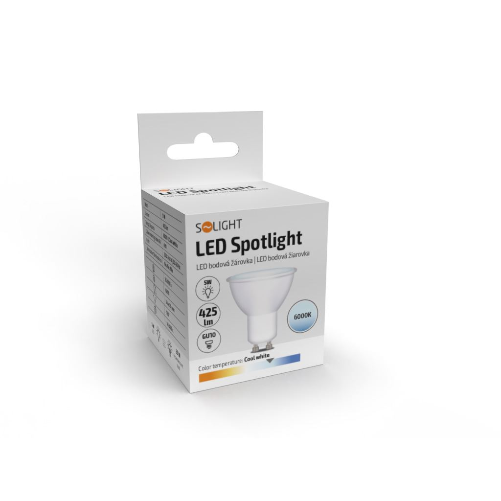 Solight LED žárovka, bodová , 5W, GU10, 6000K, 425lm, bílá