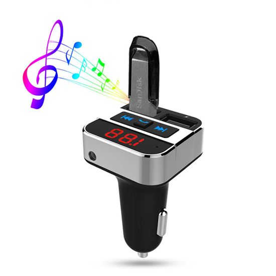 Solight FM transmitter s bluetooth připojením do auta, 2x USB + handsfree
