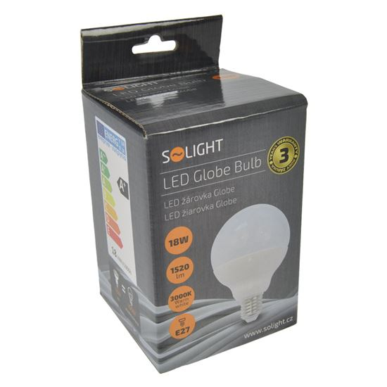 Solight LED žárovka, globe, 18W, E27, 3000K, 270°, 1520lm