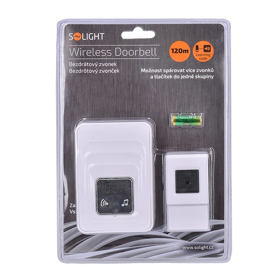 Solight Wireless doorbell with thermometer, plug-in, 120m, learning code, white