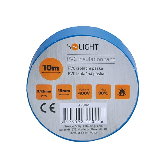 Solight PVC tape 15mm x 10m, blue