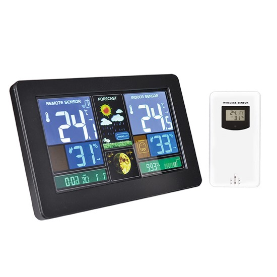 Solight Weather station, extra large color LCD, temperature, humidity, pressure, RCC, USB charging, black